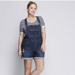 Lane Bryant Distressed Bib Short Overalls